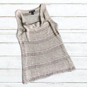 INC Cream/Oatmeal Sleeveless Knit Top